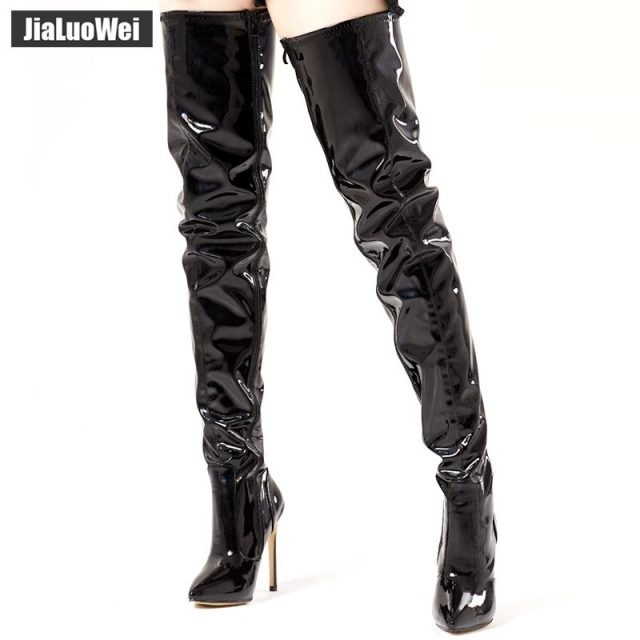 jialuowei 12CM Extreme High Thin Heel Pointed-toe Women Over the Knee Boots Thigh High Sexy Fetish Dance Nightclub Party Shoes