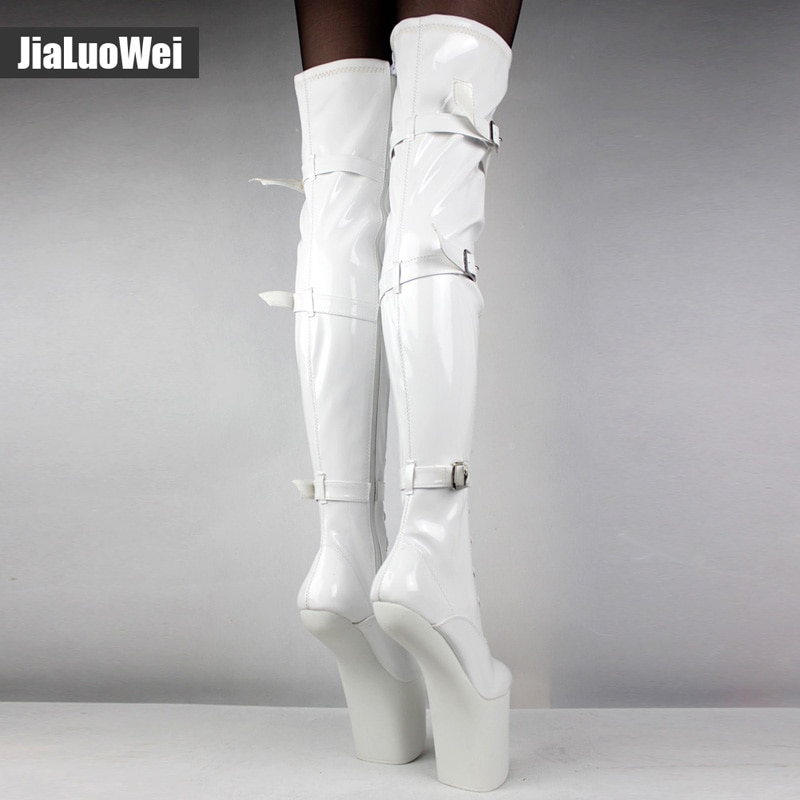 Jialuowei  Extreme 20cm High Heel Lace up Fetish sexy Heelless Horse Stallion Hoof Sole over-the-knee boots Thigh high boots