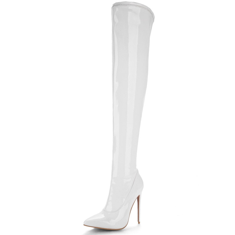 Prova Perfetto Plus Size 48 Women Sexy Fetish Dance Nightclub Party Shoes Extreme High Heel Women Over Knee Boots Thigh Boots