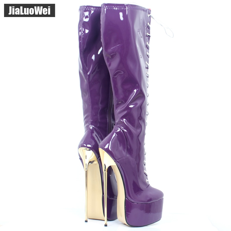 jialuowei 22CM Ultra High Heel Gold Metal Heels PU leather Lace-Up Knee High Platform Women Sexy Fetish Dance Motorcycle Boots