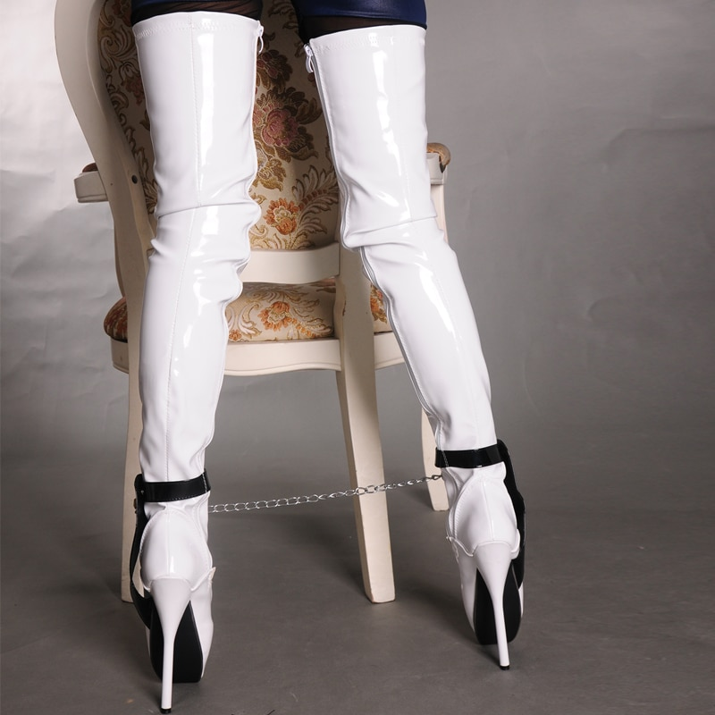 18cm/7 inch Extreme High Heel over knee ballet heels black thigh high boots fetish Sexy Thin heel Padlocks Chain crotch boots