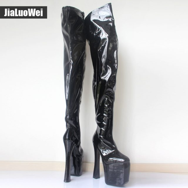 Jialuowei Women Extreme 8 inch high heel platform Sexy fetish thigh high boots Over-the-Knee Ladies Zipper Long Shoes plus size