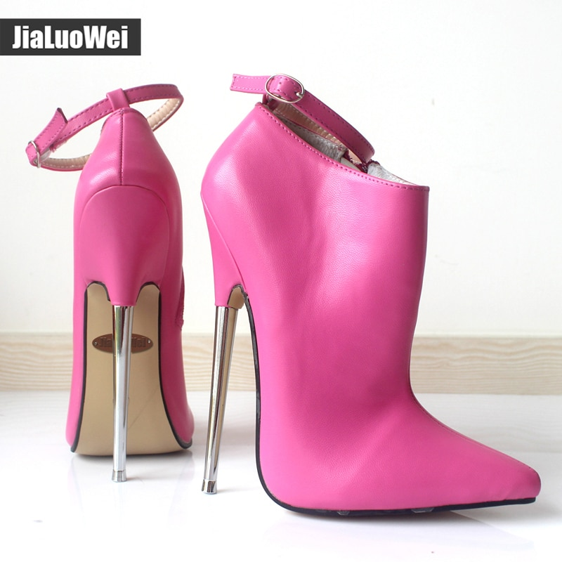 jialuowei 2018 New Fashion 18cm Ultra High Heels Shoes Pointed toe Metal Heels Zip Buckle Strap Women Sexy Fetish Ankle Boots