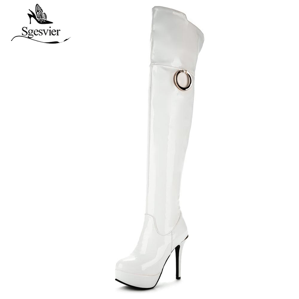 Sgesvier Women Over Knee Boots Sexy Fetish Dance Nightclub Party Shoes High Heel Platform Women Red White Thigh High Boots OX678