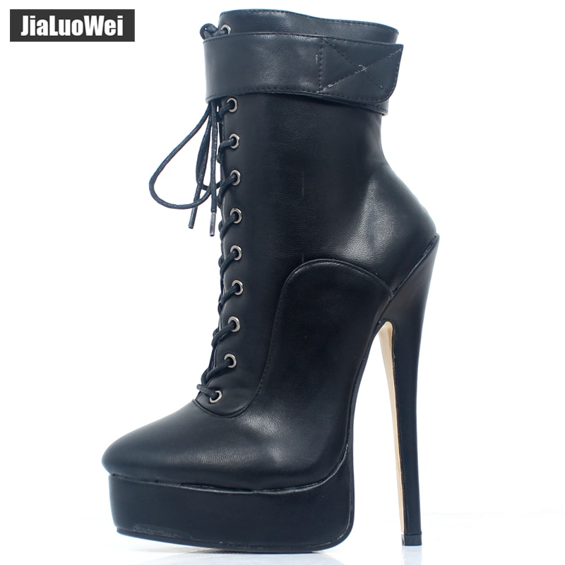 jialuowei New Women Shoes PU Leather Ankle Strap Boots 18cm/7