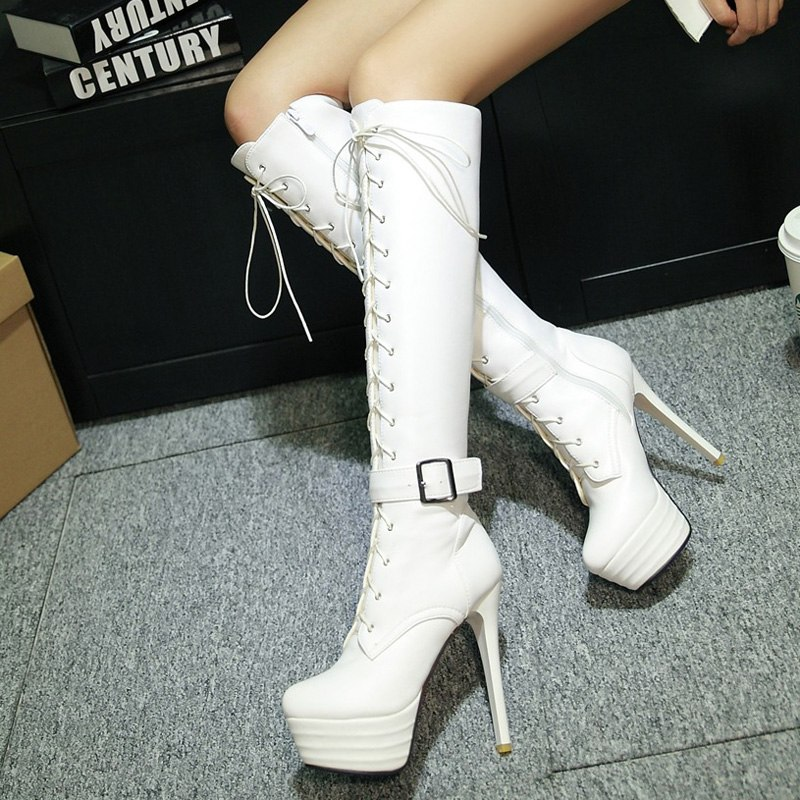 Motorcycle Boots Sexy Fetish Shoes Women Knee-High Buckle Boots Ultra High Heels 13CM Platform Long Boots Women Dance Shoes