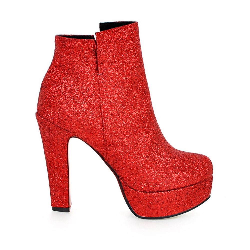 European Designers Brand Women Ankle Boots Heels Female Shoes Woman Autumn Glitter Lace up Boots Casual  Pink