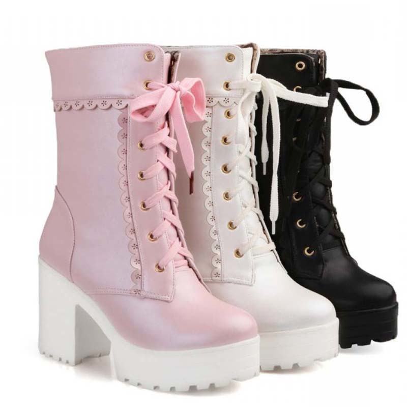 AIYKAZYSDL Lolita Pink White Lace Up High Heel Student Shoes Cosplay Platform Chunky Block Mid Calf Short Boots Women Plus Size