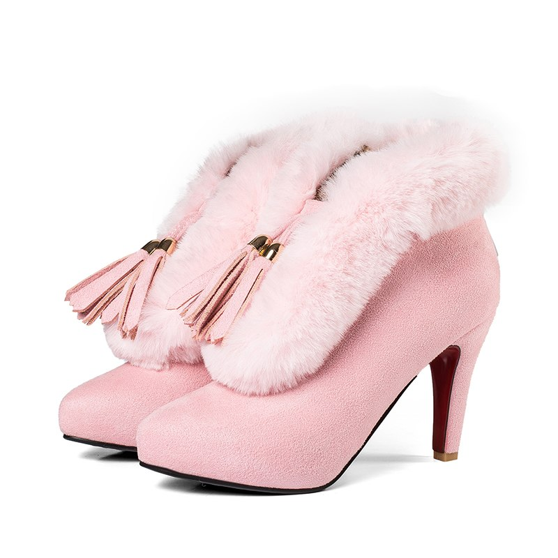 Women Platform Thin Heel Ankle Boots Woman Pointed Toe High Heels Shoes Woman Warm Fur Botas Feminina Large Size 32-43 Pink Grey