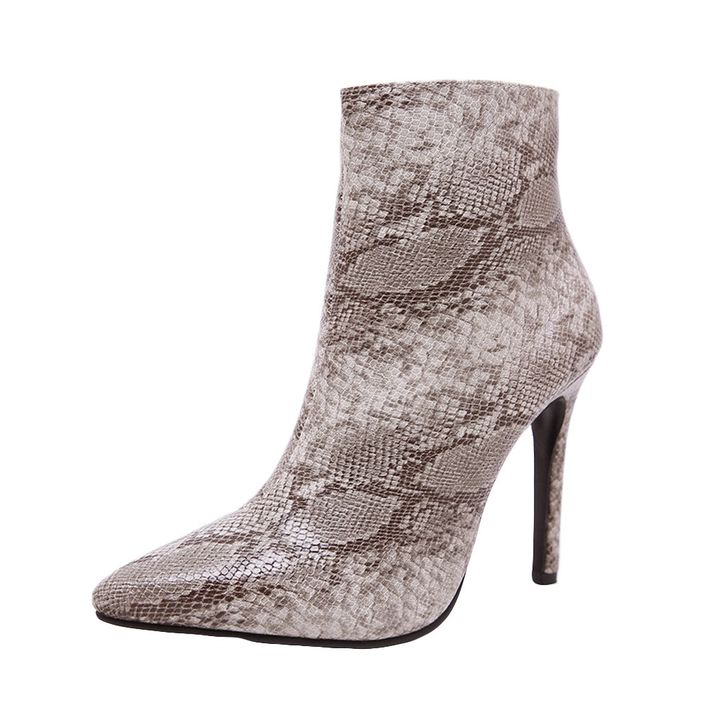 Solid Snake Skin Women Pointed Toe Stiletto High Heels Shoes Booties Woman Sexy Thin Heels Zipper Boots Ladies Shoes Pink