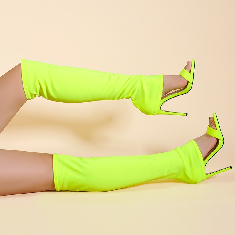 Pink Palms  Autumn Lycra Shoes Women Over The Knee Sexy High Heels Wedge Boots Stretch Fabric Sock Boots Students Boots