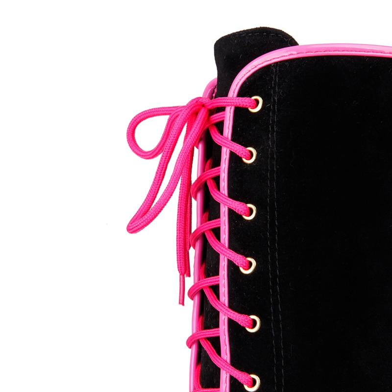 Women Wedges Knee High Boots Flock Fashion Lace Up Winter Women Shoes Pink Black