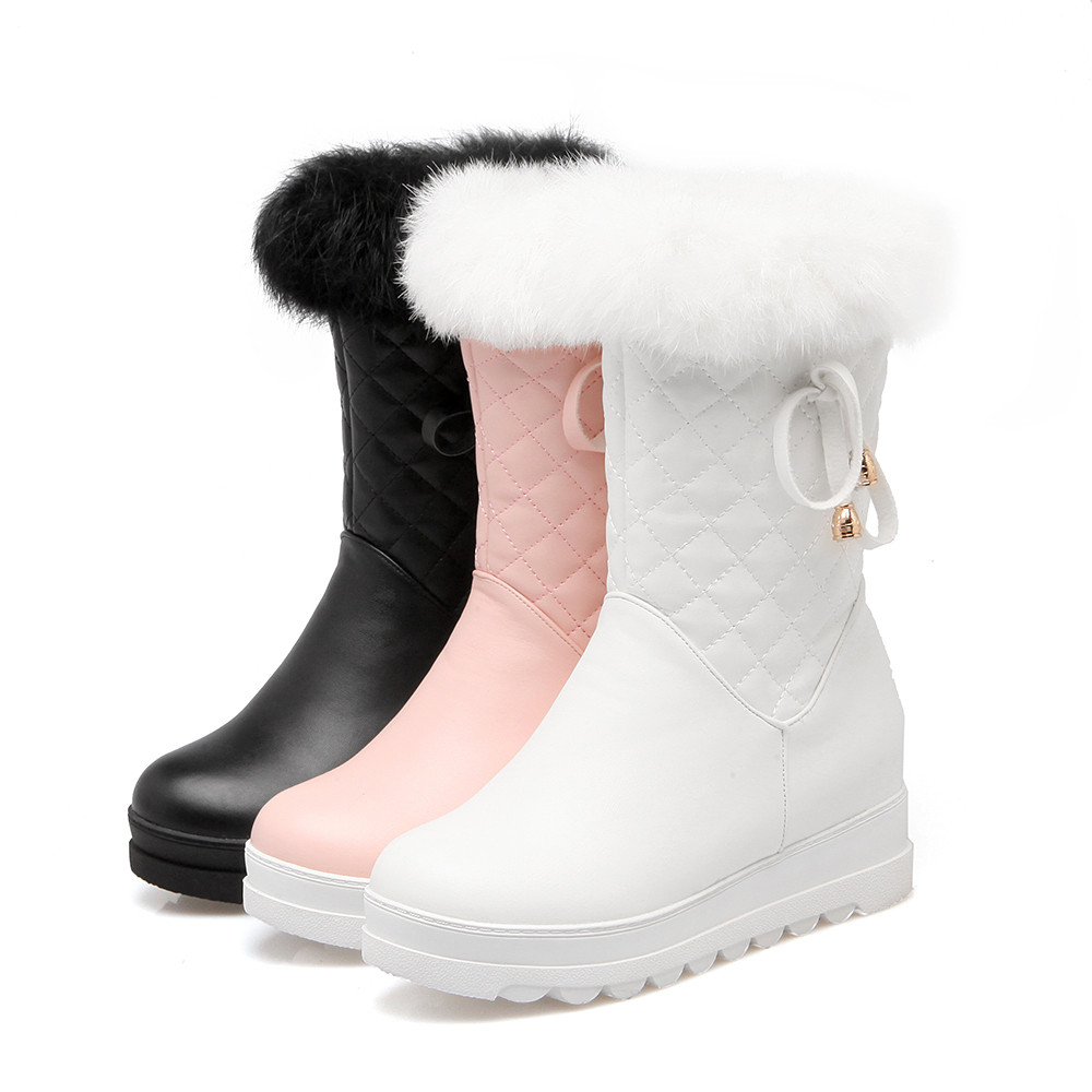 MoonMeek black pink white winter new arrive women boots round toe height increasing ladies snow boots fur keep warm ankle boots