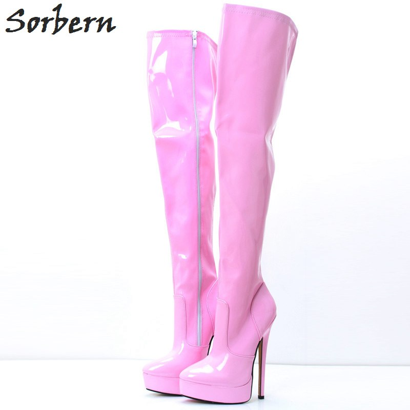 Sorbern Pink Long Women Boots Ladies Party Boots Large Size 46 Unisex 18CM High Heels Pole Dance Boots Platform Ladies Shoes