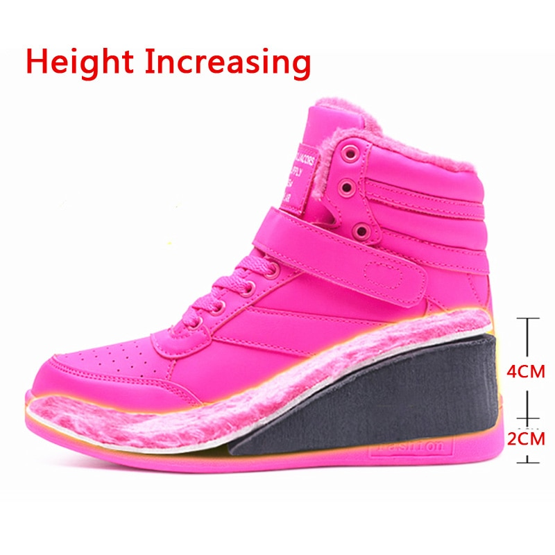 Pink Platform Snow Boots Women Winter Shoes Korea Sneakers Women Wedges Boots Warm Plush Women Boots Leather Botas Mujer