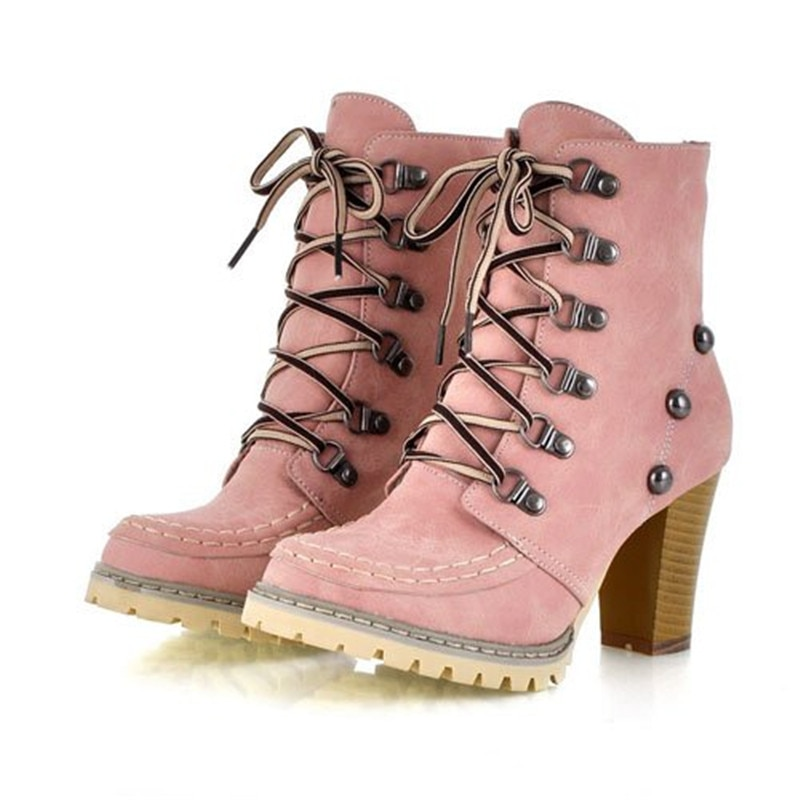 ENMAYER New Stylish High Qulity Ankle Boots for Women Brown Pink Light Green Women Boots Shoes Women Round Toe Winter Boots