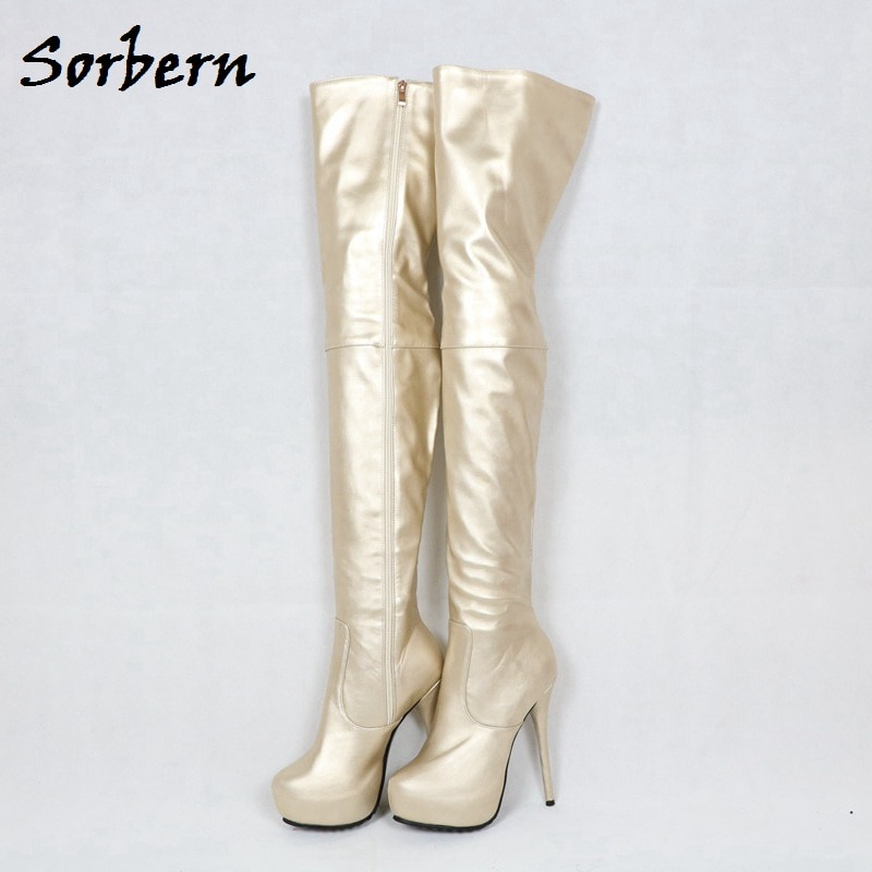 Sorbern Soft Pu Thigh High Boots For Women High Heels Thick Platform Shoes 2018 Fenty Make Up Crossdresser Long Boots Diy Colors