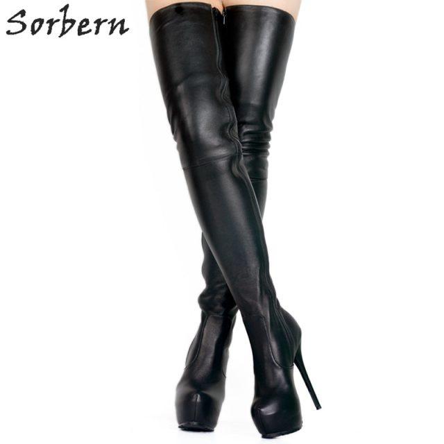 Sorbern Soft Pu Thigh High Boots For Women High Heels Thick Platform Shoes 2018 Fenty Make Up Crossdresser Long Boots Diy Colors