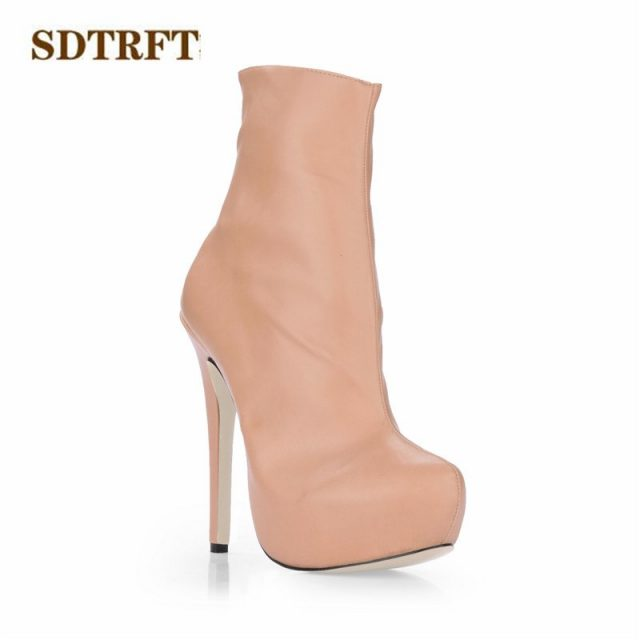 SDTRFT Spring Autumn Stiletto Fashion botas mujer 14cm thin heels Ankle boots Sexy Crossdress shoes Woman platforms party pumps
