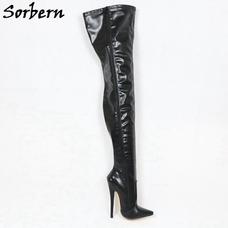 Sorbern Custom Width Long Boots Women Mid Thigh High Crossdresser Boots Unisex 18Cm Spike High Heels Stilettos Pointy Toes