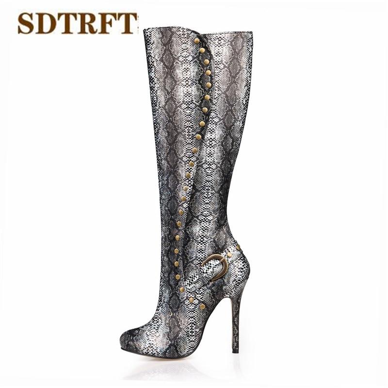 SDTRFT Winter Stilettos 12cm thin heels Knee-High boots Pointed Toe shoes Woman Crossdresser Botas Rivet Snake print pumps 35-43