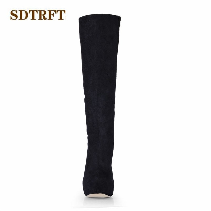 SDTRFT Spring Autumn Stiletto Fashion botas mujer 14cm thin heels Knee-High boots Sexy Crossdress shoes Woman platforms pumps