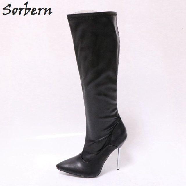 Sorbern Black Matt Knee High Boots For Women Fetish Tiptoe Heels Crossdressed Heels Ladies Booties Designer High Heel Shoes New