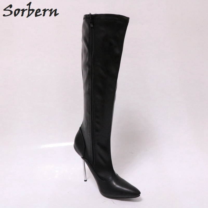 Sorbern Black Matt Knee High Boots For Women Fetish Tiptoe Heels Crossdressed Heels Ladies Booties Designer High Heel Shoes New