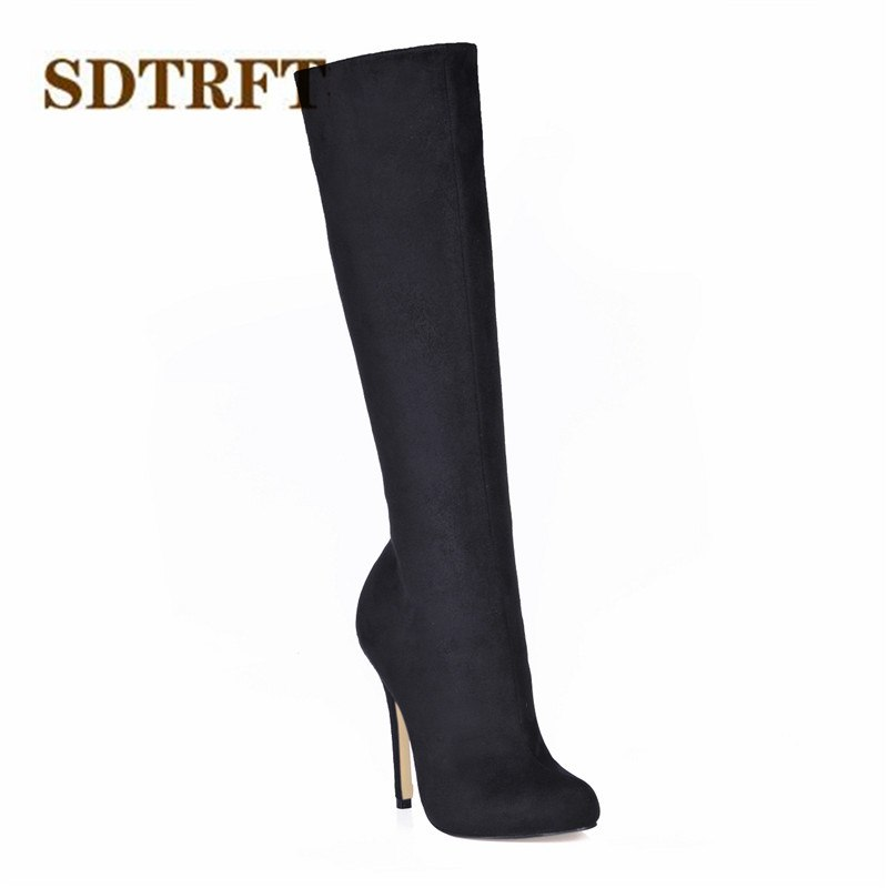 SDTRFT:35-43 Spring/Autumn botas mujer 12cm thin heels Knee-High snow boots Sexy shoes Woman Crossdresser Suede wedding pumps