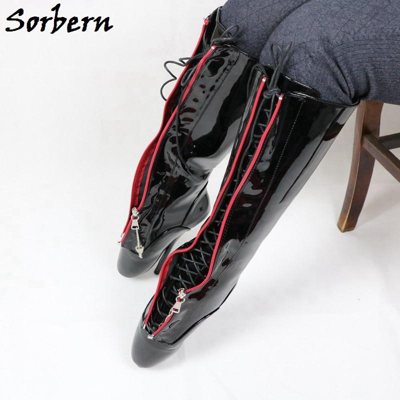 Sorbern Sexy Knee High Ballet Boots Women High Heels Sm Lockable Zipper Lace Up Pinup Boots Mid High Unisex Crossdressing Shoes