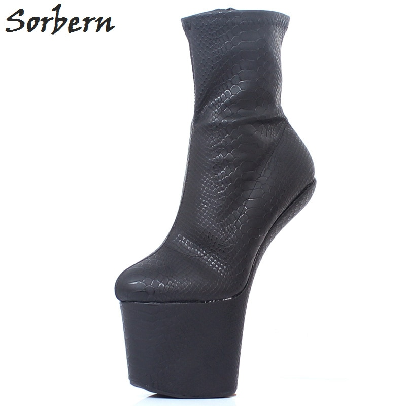 Sorbern Bdsm Hoof Heels Boots For Women Lady Gaga Cosplay Booties Crossdressed Dominatrix Unisex Heelless Exotic Dancer Shoes