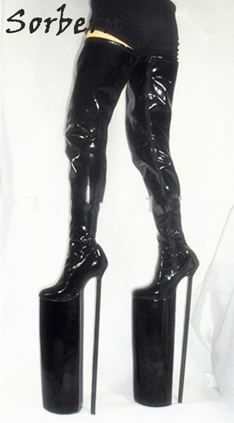 Extreme High Heel Crotch Thigh High Boot Women Metal Heels Ladies Shoes For Crossdressers Defiant Footwear Sexy Fetish Boots