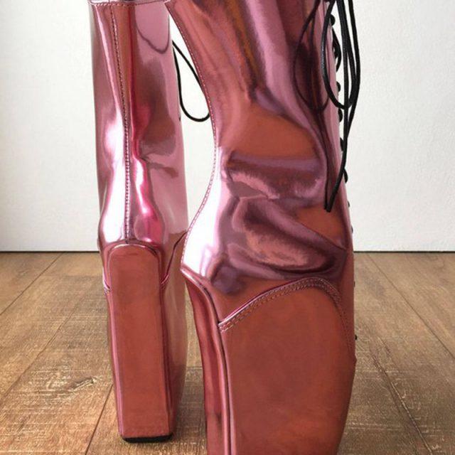 Sorbern Mettlic Pink Ankle Boots For Women Ballet Wedge Heelless Fetish Ballet Crossdresser Shoes Plus Size 45 Black Friday Boot