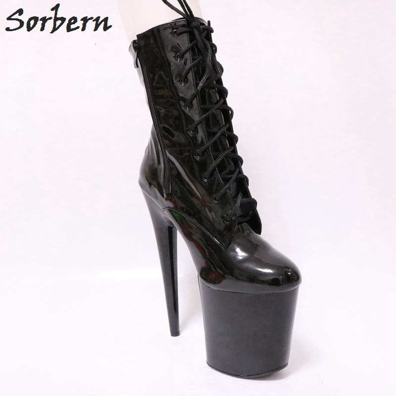 Sorbern 20Cm Ultra High Heel Ankle Boots Unisex Pole Dance Crossdressed Heels Goth Shoes For Women Fall Platform Ankle Boots