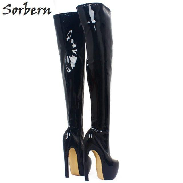 Sorbern Special Heels Over The Knee Boots Women Thick Platform High Fashion Women Shoes 2018 Crossdresser SM Booties Unisex