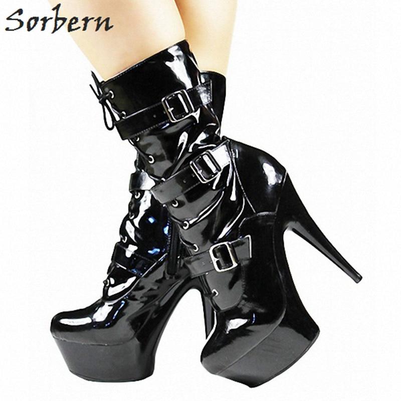 Sorbern Pole Dance Mid Calf Boots Women Spike High Heels Crossdresser Shoes Ladies Platform Red/White Short Women Boots New