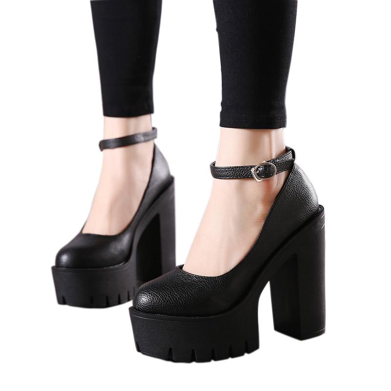 Gdgydh 2019 new spring autumn casual high-heeled shoes sexy ruslana korshunova thick heels platform pumps Black White Size 42