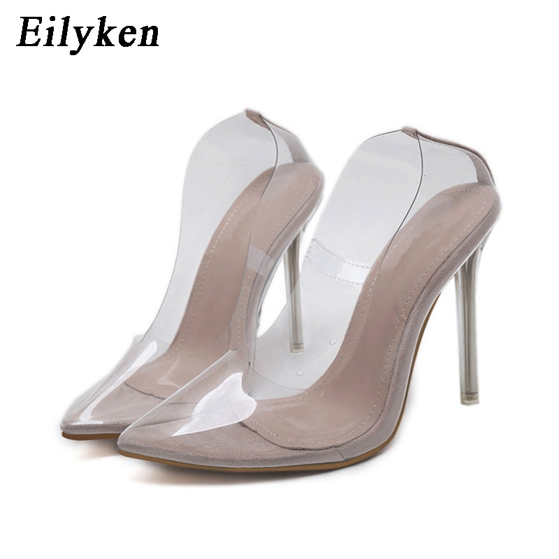 Eilyken Clear PVC Transparent Pumps Sandals Perspex Heel Stilettos High Heels Point Toes Womens Party Shoes Nightclub Pump 35-42