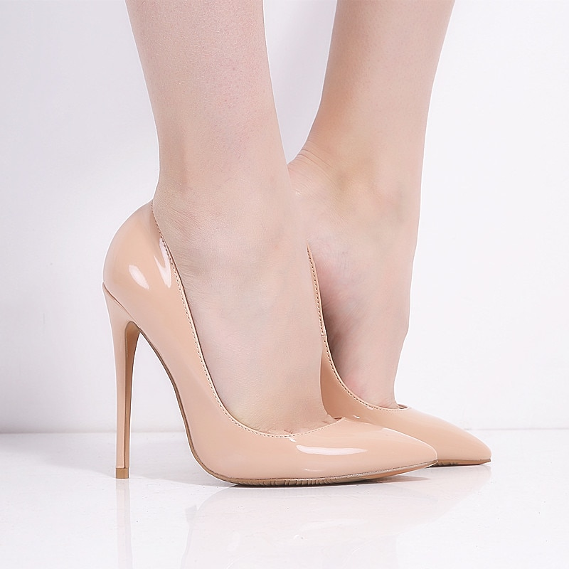Brand Shoes Woman High Heels Ladies Shoes 12CM Heels Pumps Women Shoes High Heels Sexy Black Beige Wedding Shoes Stiletto B-0043