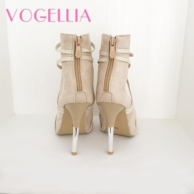 2018 New Fashion Woman Faux Suede Pumps Sexy Open Toe Ankle Boots Slip On Deep V Cut High Heel Lady Autumn Shoes