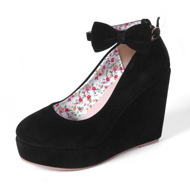 MCCKLE Women High Heels Shoes Plus Size Platform Wedges Female Pumps Elegant Flock Buckle Bowtie Ankle Strap Party Wedding Shoes