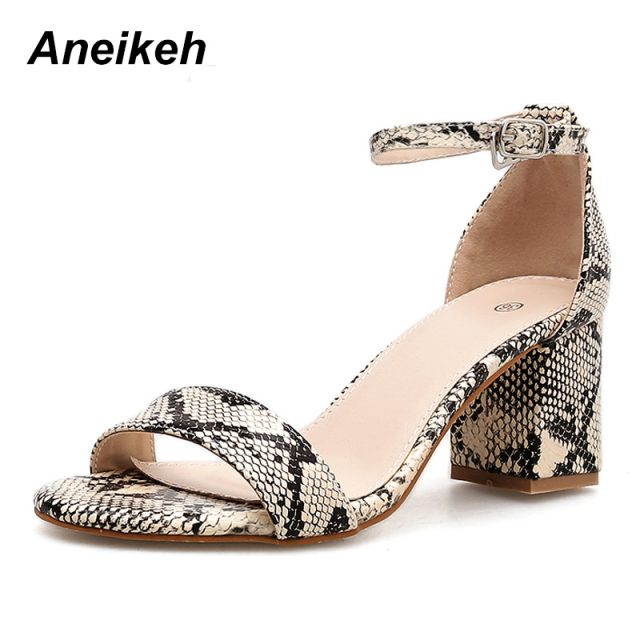 Aneikeh 2019 Leopard Print Women Sandals High Heels Summer Ankle Strap Square Heel Fashion Sandals Pumps Dropshipping Size 35-40