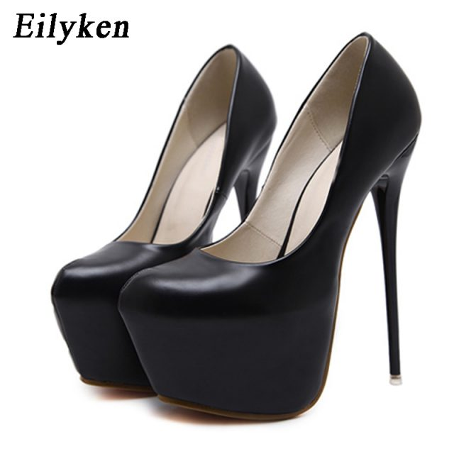 Eilyken Spring/Autumn Sexy Wedding Fetish Round Toe Woman Pumps Platform Very High Heel Pumps 16 cm Black Red