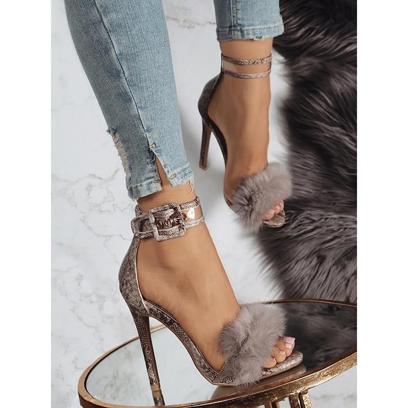 Aneikeh Women Sandals High Heels Footwear Fur Ankle Strap Gladiator Sandals Female Wedding Sexy Shoes Stiletto D-88-5#