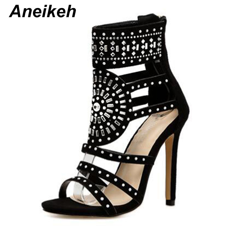 Aneikeh Women Fashion Open Toe Rhinestone Design High Heel Sandals Crystal Ankle Wrap Glitter Diamond Gladiator Black Size 35-40