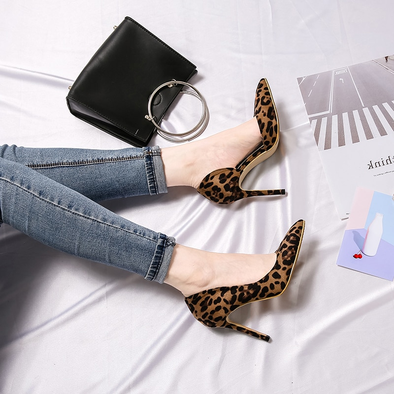 Sexy Women Pumps High Heels Shoes Spring Leopard Thin Heels Woman Party Shoes Brand Plus Size Pointed Toe Single Female Pumps 45