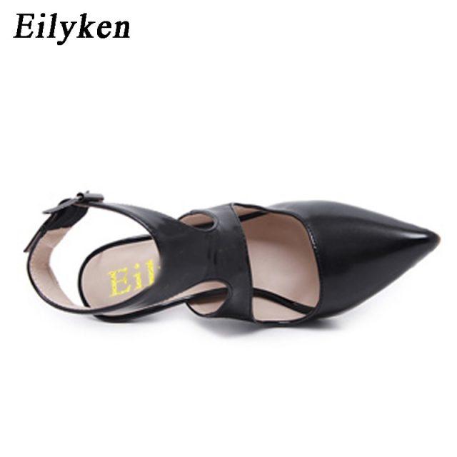 Eilyken 2019 New Design Autumn High Heels Pumps Sandals 12.5CM Fashion Pointed Toe Buckle Strap Gladiator Thin Heel Woman Shoes