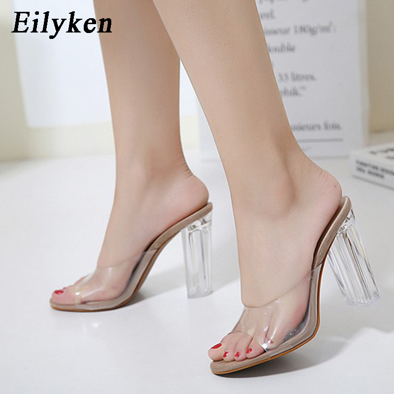 Eilyken New Women Sandals PVC Crystal heel Transparent Women Sexy Clear High heels Summer Sandals Pumps 11cm size 35-40