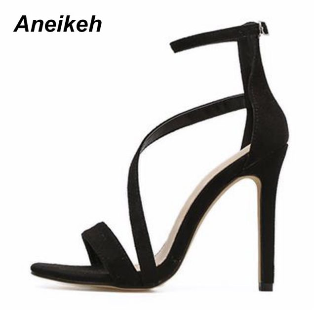 Aneikeh New Fashionable Sexy Design Women Line Style Buckle Thin High Heels Black Faux Suede Open Toe Dress Sandals Shoe Size 42