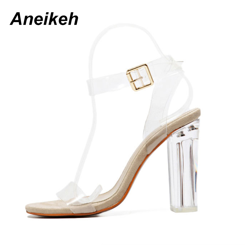 2018 Women Sandals Plus Size 35-41 Transparent PVC High Heels Shoes Woman Star Style Ankle Strap Gladiator Sandals Women Shoes